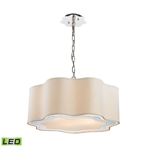 Dimond lighting 1140-019-LED Villoy 6 Light LED Drum Pendant In Polished Stainless Steel And Nickel