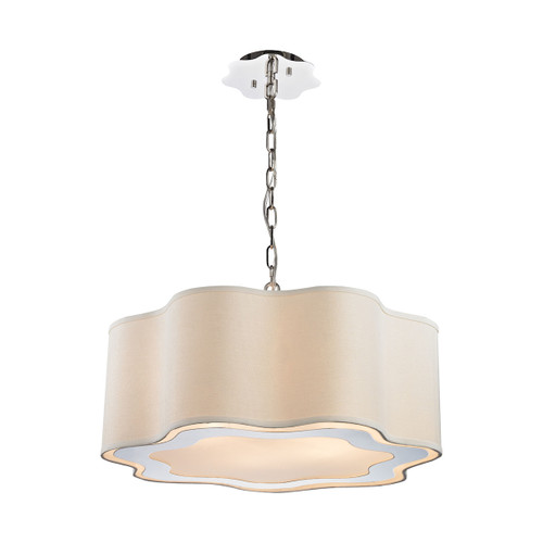 Dimond lighting 1140-019 Villoy 6 Light Drum Pendant In Polished Stainless Steel And Nickel