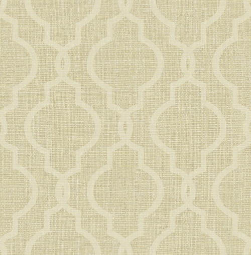 Kenneth James by Brewster PS41704 Palm Springs Geometric Jute Gold Quatrefoil Wallpaper