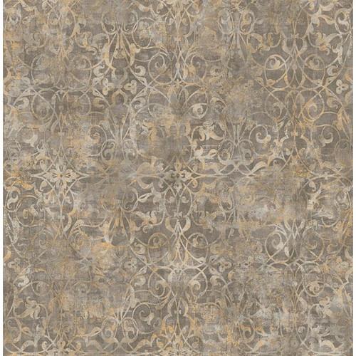 Seabrook Wallpaper in Brown, Metallic Gold, Neutrals MK21416