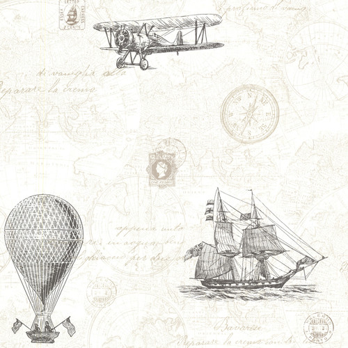 Beacon House by Brewster 2604-21244 Oxford Explorer Fog Antique Map Wallpaper