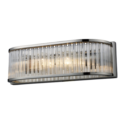 Braxton 2 Light Vanity In Polished Nickel And Ribbed Glass Rods by Elk 10126/2