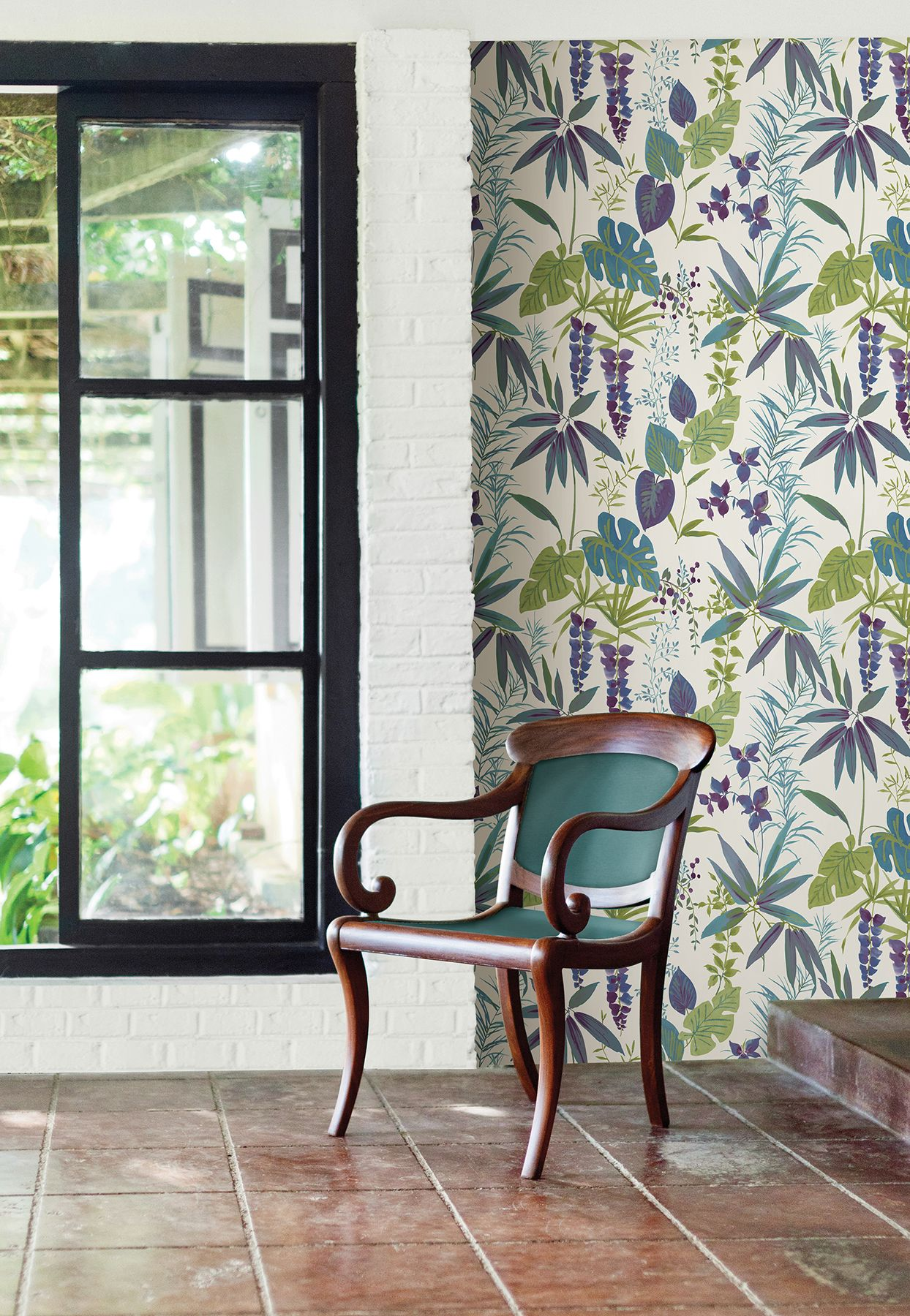 A Street Prints By Brewster 2656 004001 Descano Exotic Plum Botanical Wallpaper The Savvy Decorator