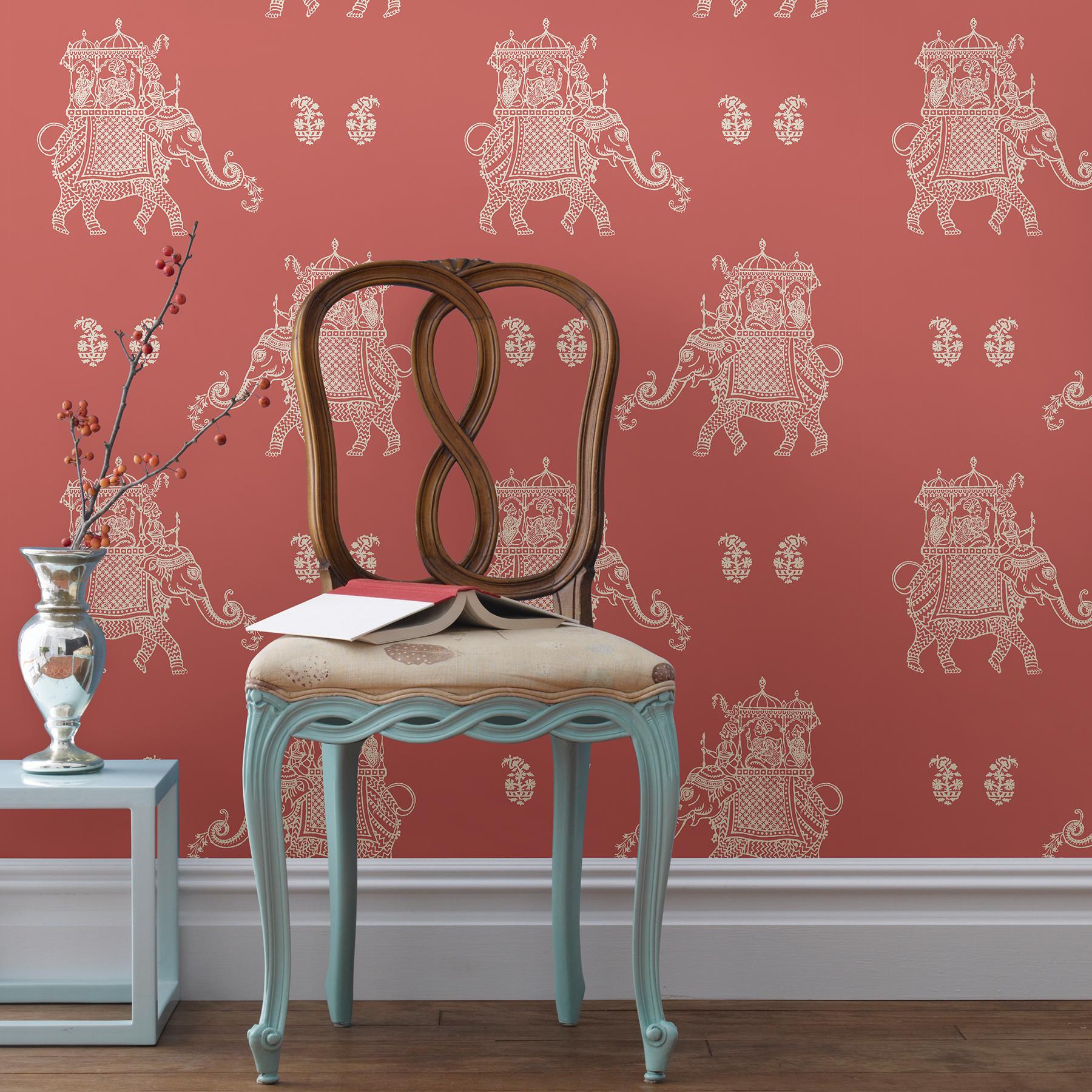 Nuwallpaper By Brewster Nuw2078 Caravan Coral Elephant Peel Stick Wallpaper The Savvy Decorator