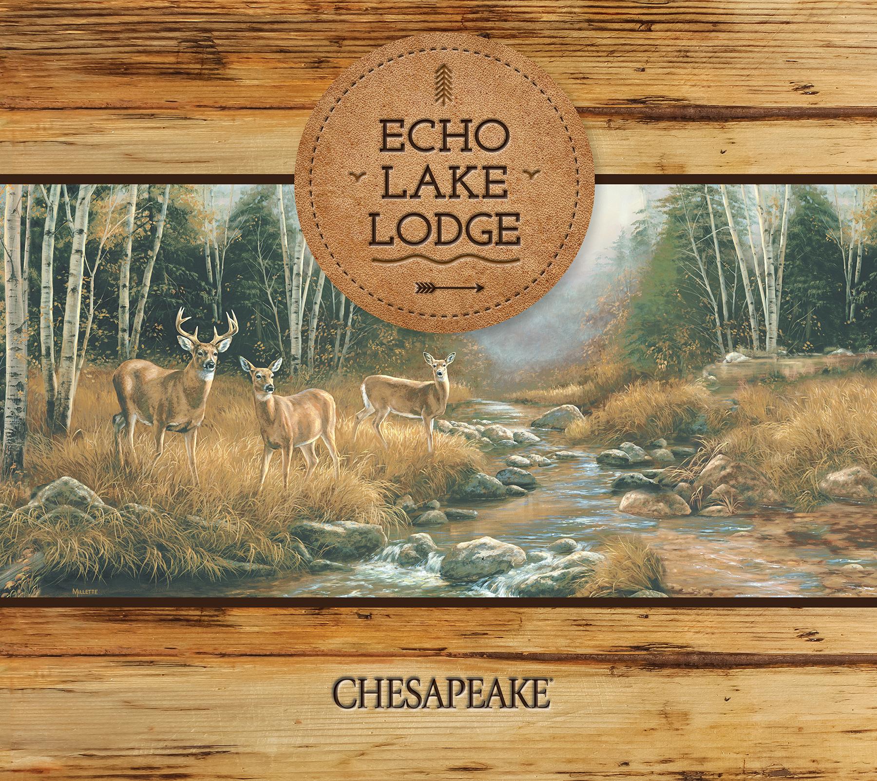 Chesapeake by Brewster TLL01353 Echo Lake Lodge Brimstone Brown Forest Leaf Toss