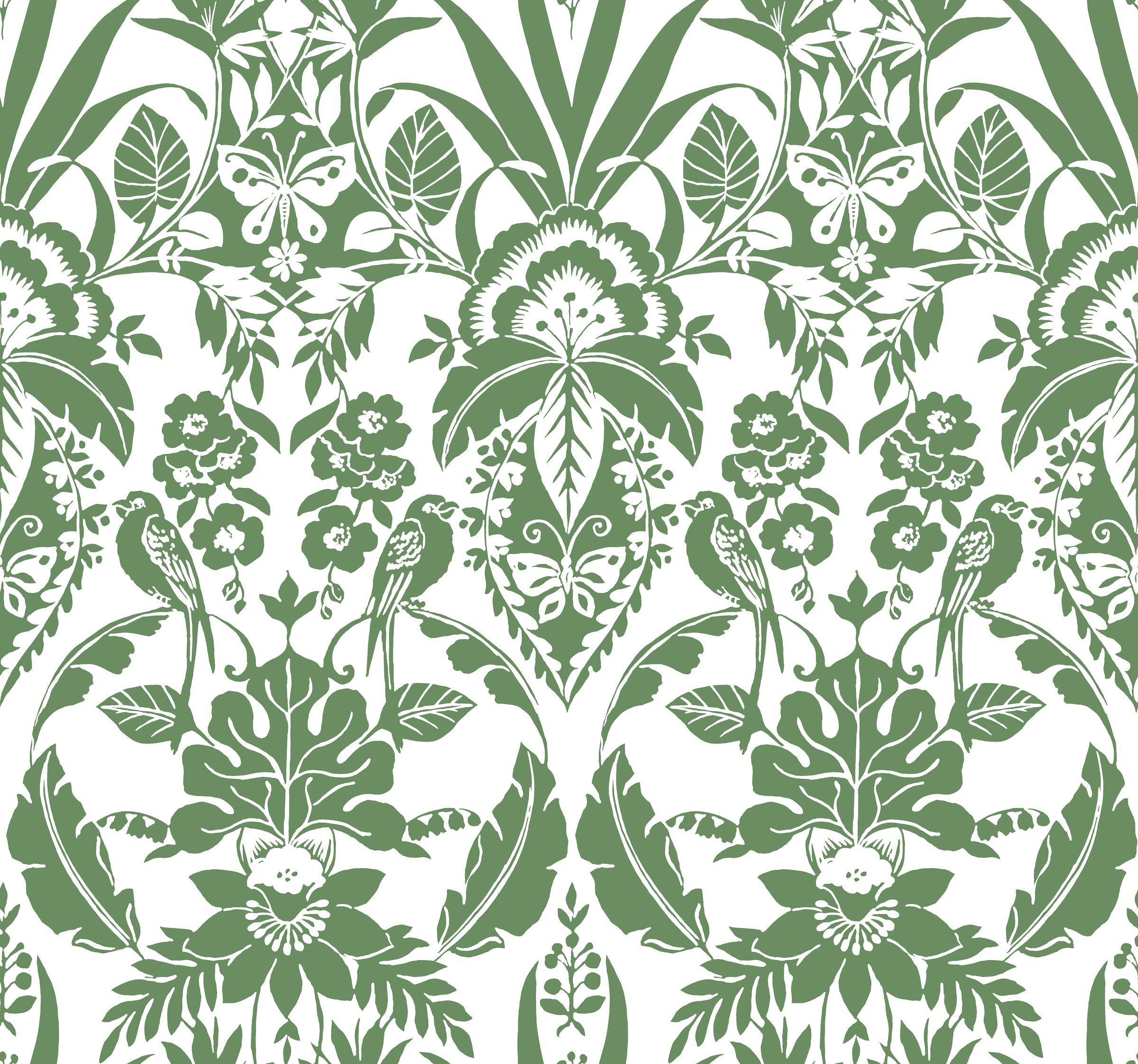 York Wallcoverings Cy1584 Botanical Damask Wallpaper Green The Savvy Decorator