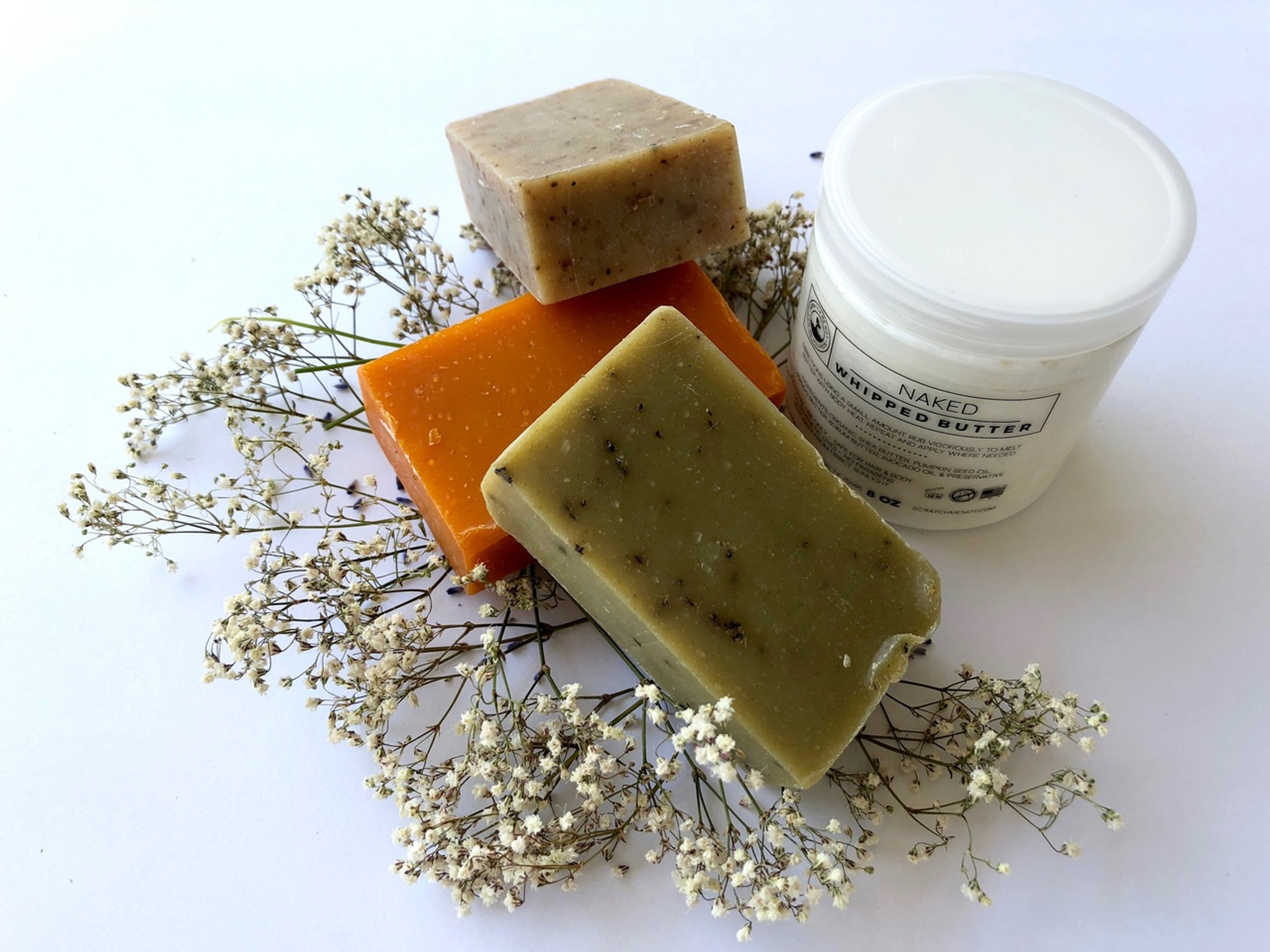 Trio Pack 1)spiced oatmeal 2) citrus lavender 3) peppermint 4) Naked Cream 2 oz.