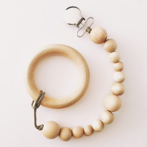 NEW! ScratchMeNot Organic Birch Teether Ring with Clip