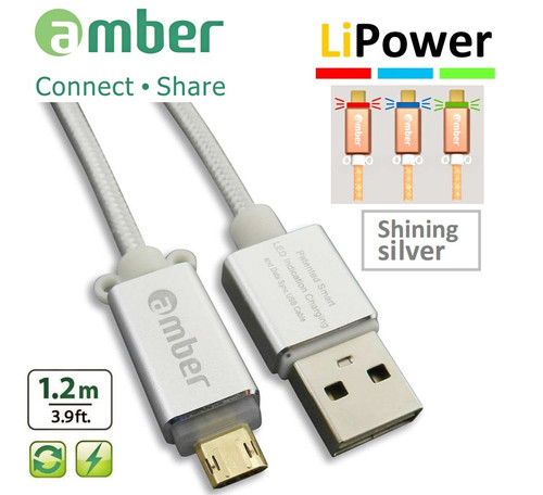 Amber MUB-L01 SILVER Reversible MicroUSB Data/Charging cable, 1.2m, QC2.0/3.0