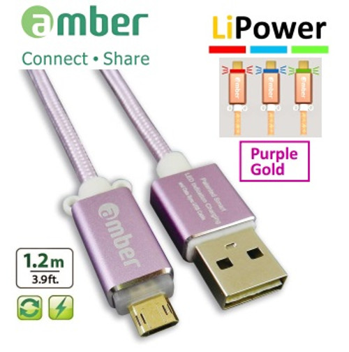 Amber MUB-L03  PURPLE GOLD Reversible MicroUSB Data/Charging cable, 1.2m, QC2.0/3.0