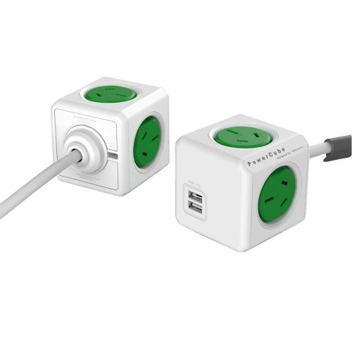 Allocacoc PowerCube Extended Green Powerboard 4-Outlets 2xUSB 1.5m