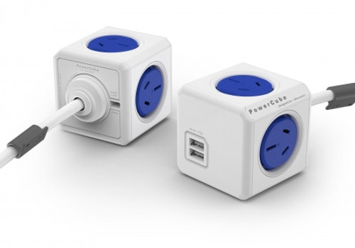 ALLOCACOC POWERCUBE Extended USB BLUE-4 Outlets-2 USB 3.0m CABLE