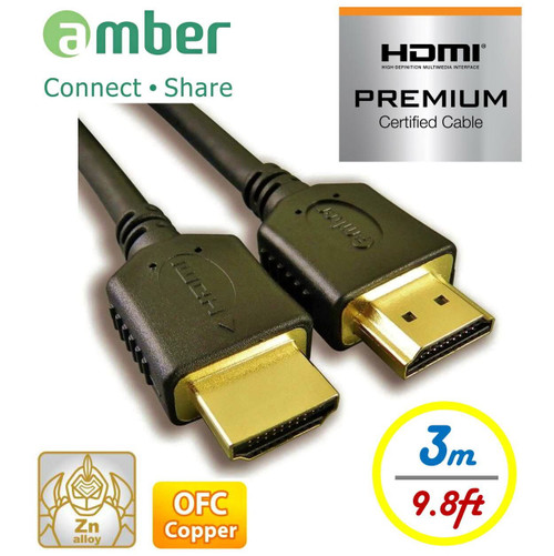 AMBER HM2-AA130 HDMI2.0B PREMIUM HDMI A to A CABLE, 3M
