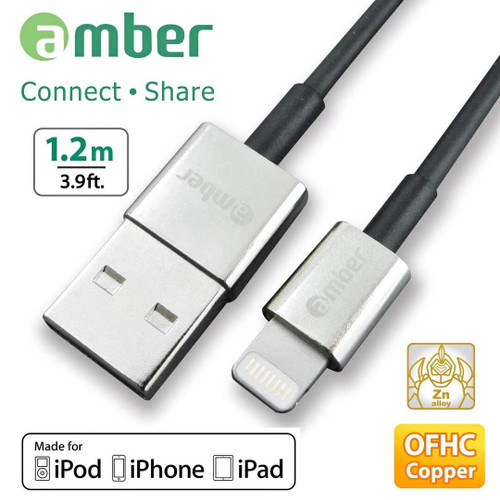 AMBER USB LIGHTNING SYNC-FAST CHARGE CABLE 1.2 M