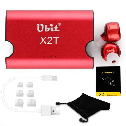 Ubit X2T Bluetooth Stereo earphones w/noise-cancelling mike, Red