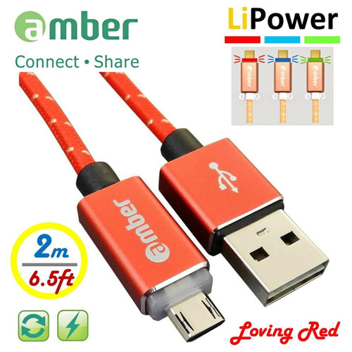 AMBER MUB-L28 Red USB A MALE TO MICRO USB B MALE 5 PIN LED MOBILE FAST CHARGE SYNC CABLE 2.0 M