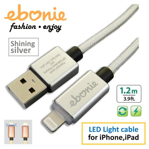 AMBER ELT-L01 Silver USB A MALE TO LIGHTNING MALE MOBILE FAST CHARGE SYNC CABLE 1.2 M