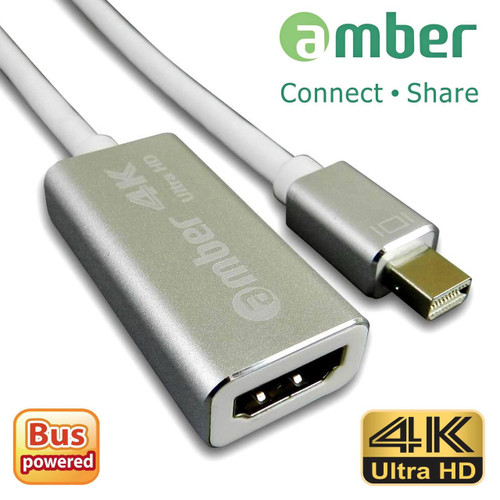 Amber MDP-H21  Mini Display Port To HDMI 4K Adapter, High-class Aluminum Case, SILVER