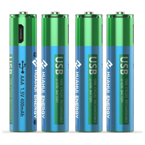 Huahui Energy USB AAA 1.5v 400mAh Rechargeable Battery-4 Pack