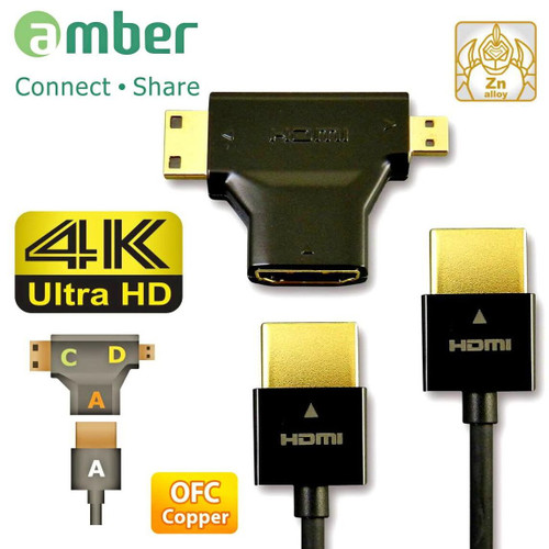AMBER HDMI-AA223 HDMI 3 IN 1 CONNECTION KIT, A to A/ C(mini)/ D(micro)