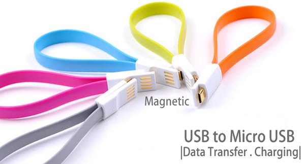 T093N Skymaster USB MicroUSB Data Charging Cable 20cm FLAT Magnetic