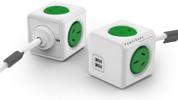 ALLOCACOC POWERCUBE Extended USB GREEN-4 Outlets-2 USB 3.0m CABLE