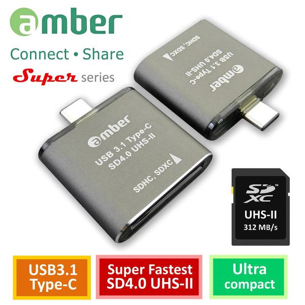 Amber CU3R-GB07 USB 3.1 Type-C to SD4.0 UHS-II, 312 MB/s, High-Class Aluminum Case