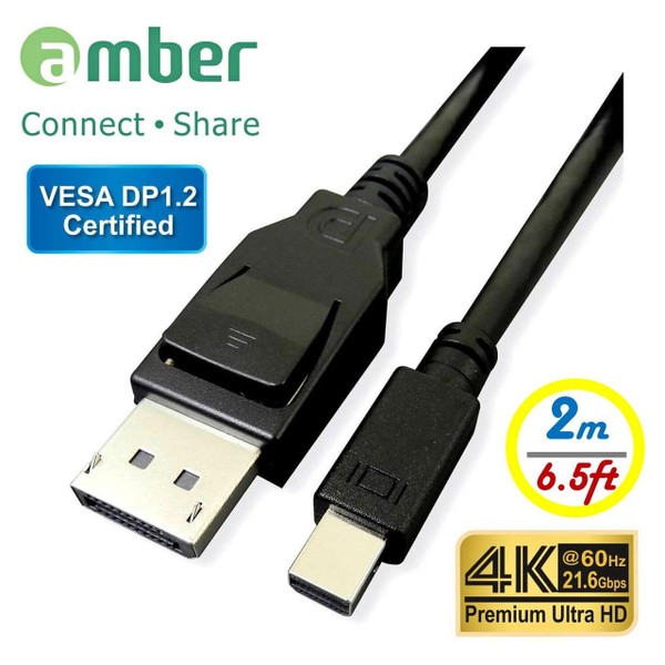 Amber DPC-M220 VESA DP1.2 Certified Mini DisplayPort to DisplayPort 2m M/M Cable