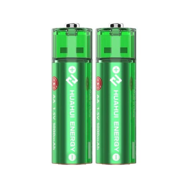 Huahui Energy USB AA 1.5v 1000mAh Rechargeable Battery-2 Pack