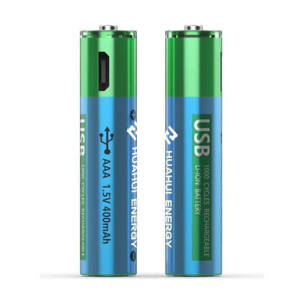 Huahui Energy USB AAA 1.5v 400mAh Rechargeable Battery-2 Pack