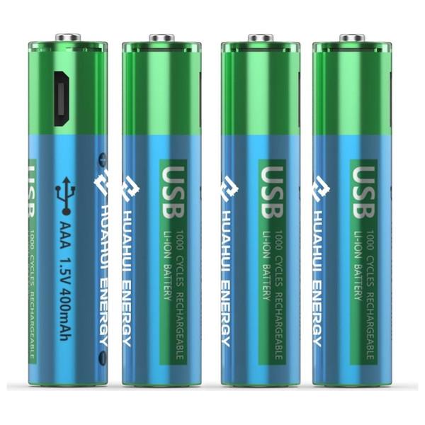 Huahui Energy USB AAA 1.5v 400mAh Rechargeable Battery-4 Pack