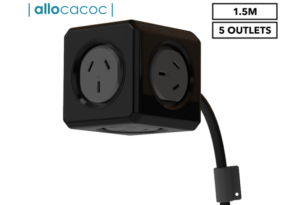 ALLOCACOC POWERCUBE Extended BLACK-5 Outlets- 1.5m CABLE