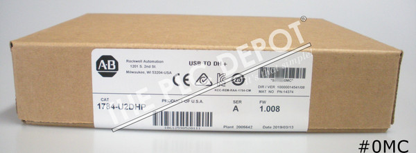 SEALED 2019 Allen Bradley 1784-U2DHP USB-to-Data Highway+ Adapter with Cable #0MC