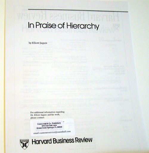 In Praise of Hierarchy - Article Reprint
