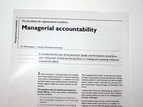 Managerial Accountability - Article Reprint