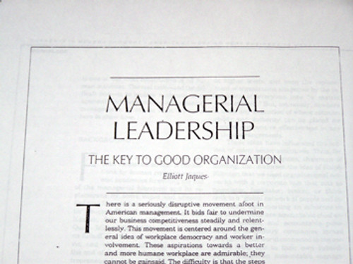 Managerial Leadership - The Key to Good Organization