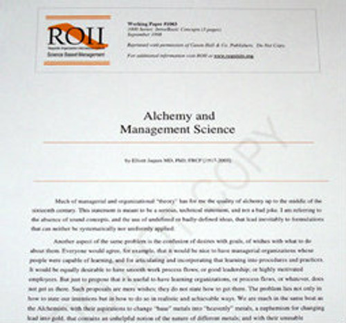 # 1003 Working Paper - Alchemy & Management Science