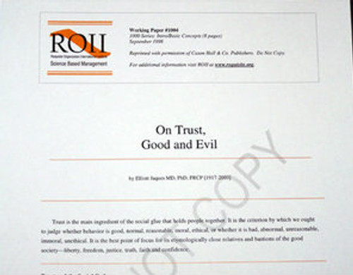 # 1004 Working Paper - On Trust, Good and Evil