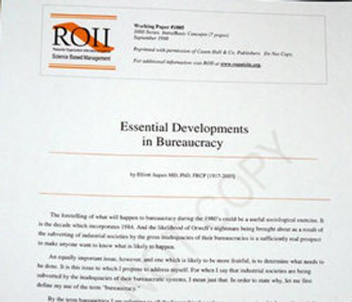 # 1005 Working Paper - Essential Developments in Bureaucracy