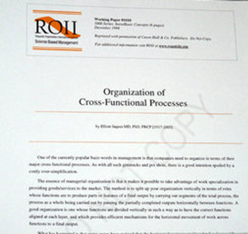 # 1010 Working Paper - Organization of Cross-Functional Processes