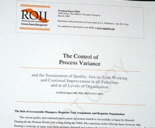 # 1011 Working Paper - The Control of Process Variance