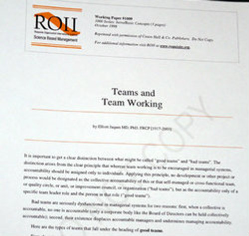 # 1009 Working Paper - Teams and Team Working