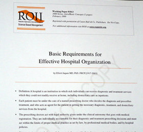 # 1013 Working Paper - Basic Requirements for Hospital Organization
