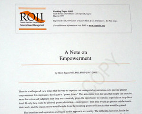 # 1012 Working Paper - A Note on Empowerment