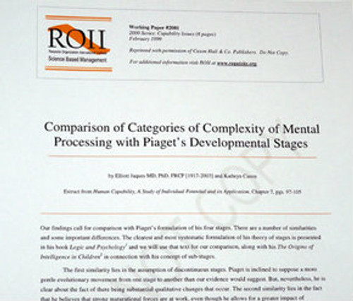 # 2001 Working Paper - Comparison of Categories of Mental Processing