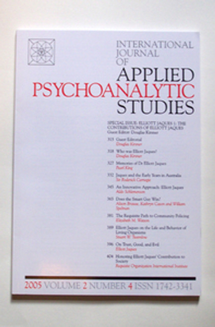 International Journal of Applied Psychoanalytic Studies 2005
