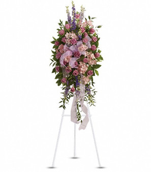 Pretty in Pink Spray funeral arrangement from Bloom Fresh Flowers - Alexandria VA best sympathy flowers florist.