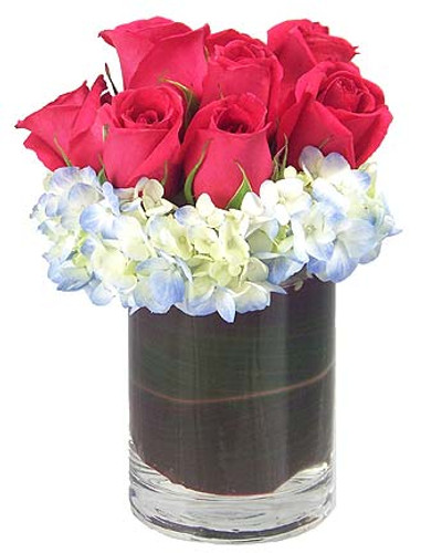 A mass of pink roses are nestled atop a bed of imported blue hydrangea