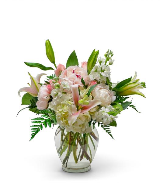 Alexandria's Best Florist Bespoke Bouquet with white hydrangea, white stock, stargazer lilies and peonies.