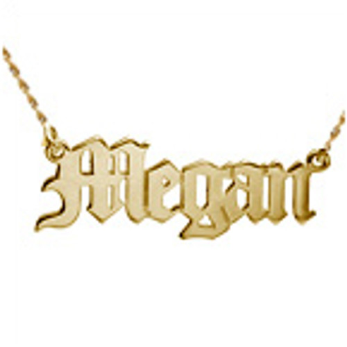 14k Gold Old English Nameplate
